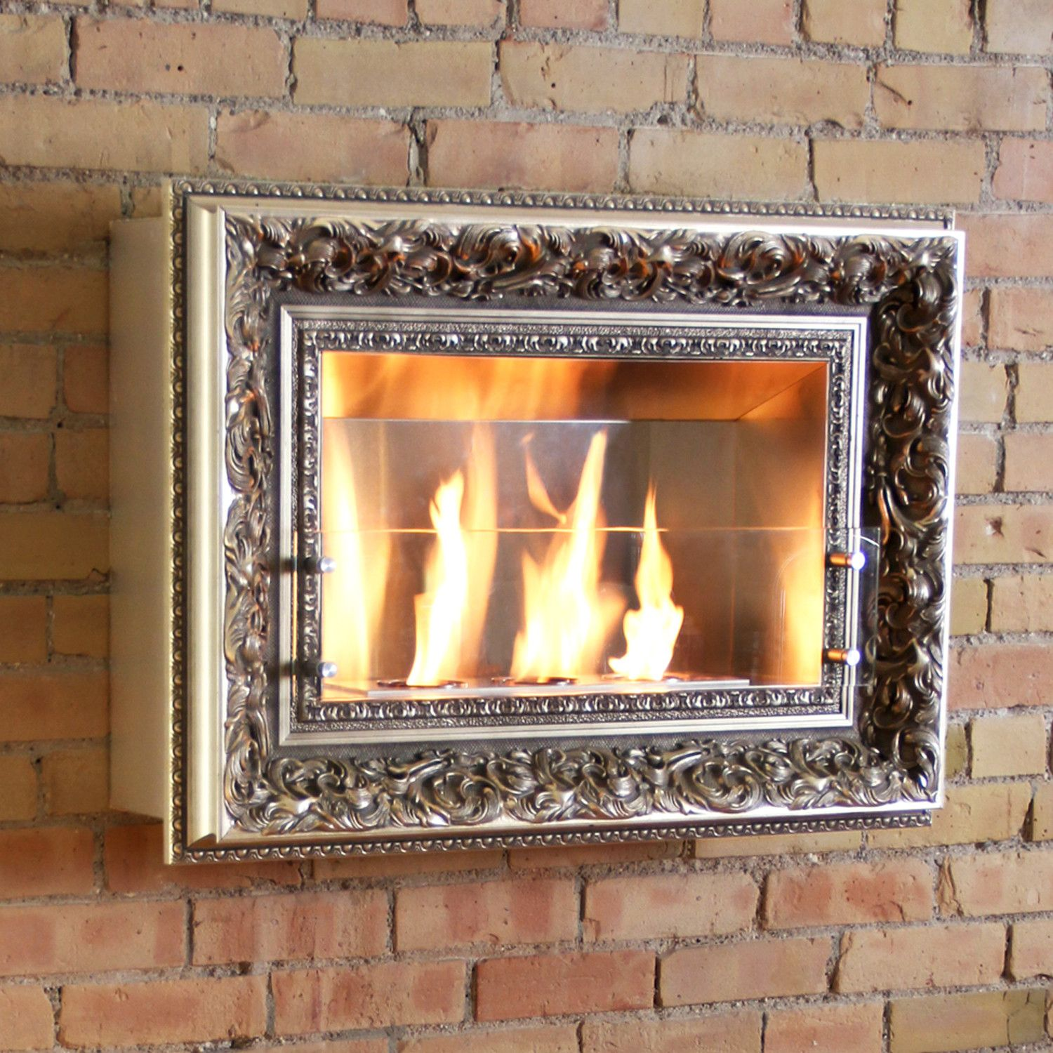 Amazing Vintage Picture Frame Three Burner Wall Firespace Cool