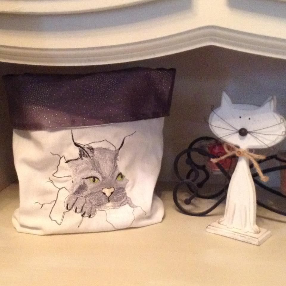 Tote Bag With Angry Cat Embroidery Free Design Free Machine