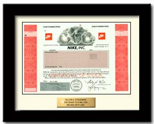 Nike Stock Certificate True Ownership Of One Share Of Nike Stock