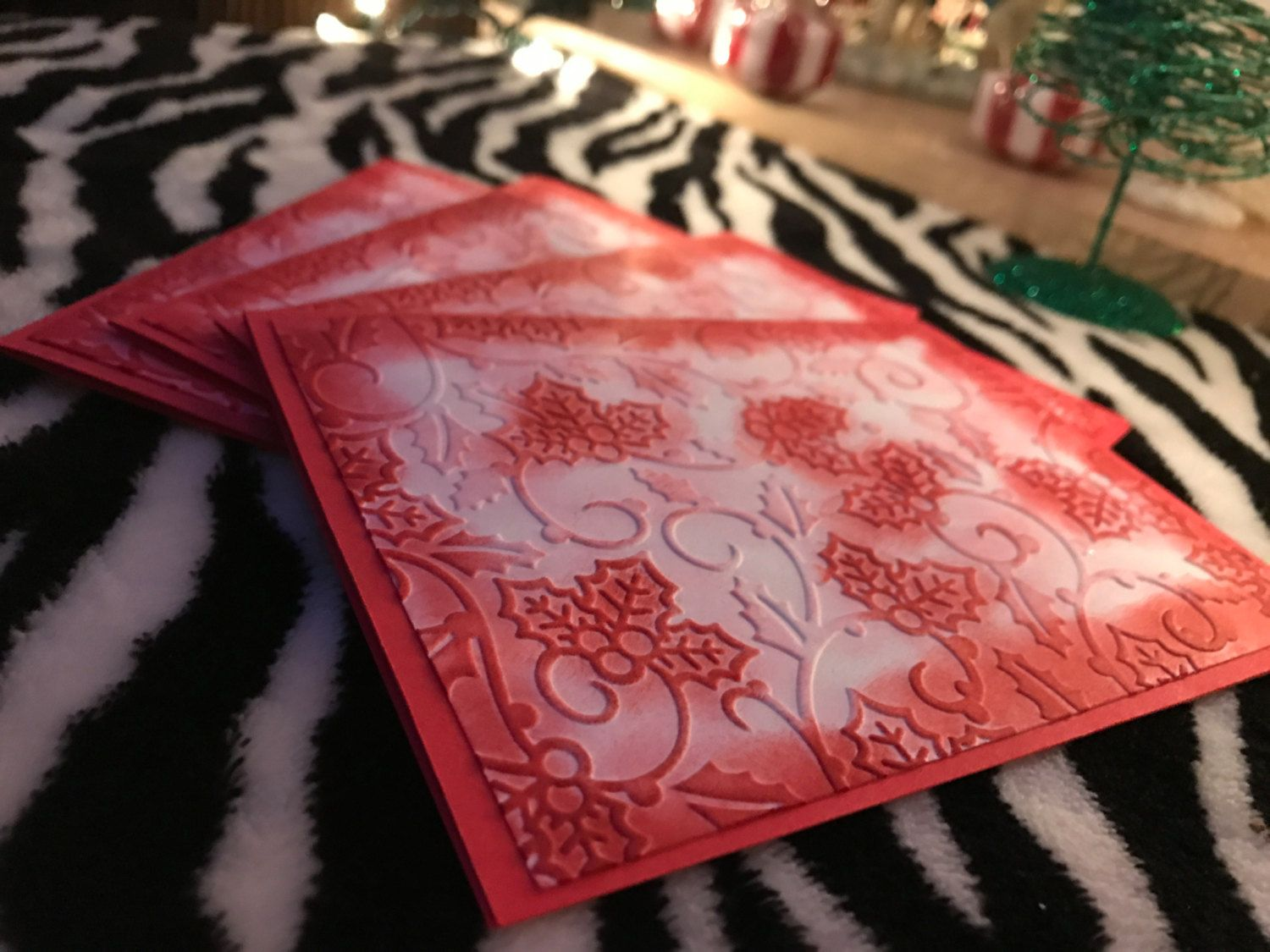 4 embossed mistletoe card set, red card set, blank card set, made in hawaii, gifts for him/her, handmade holiday card set,tis the season. by xoxoTi on Etsy