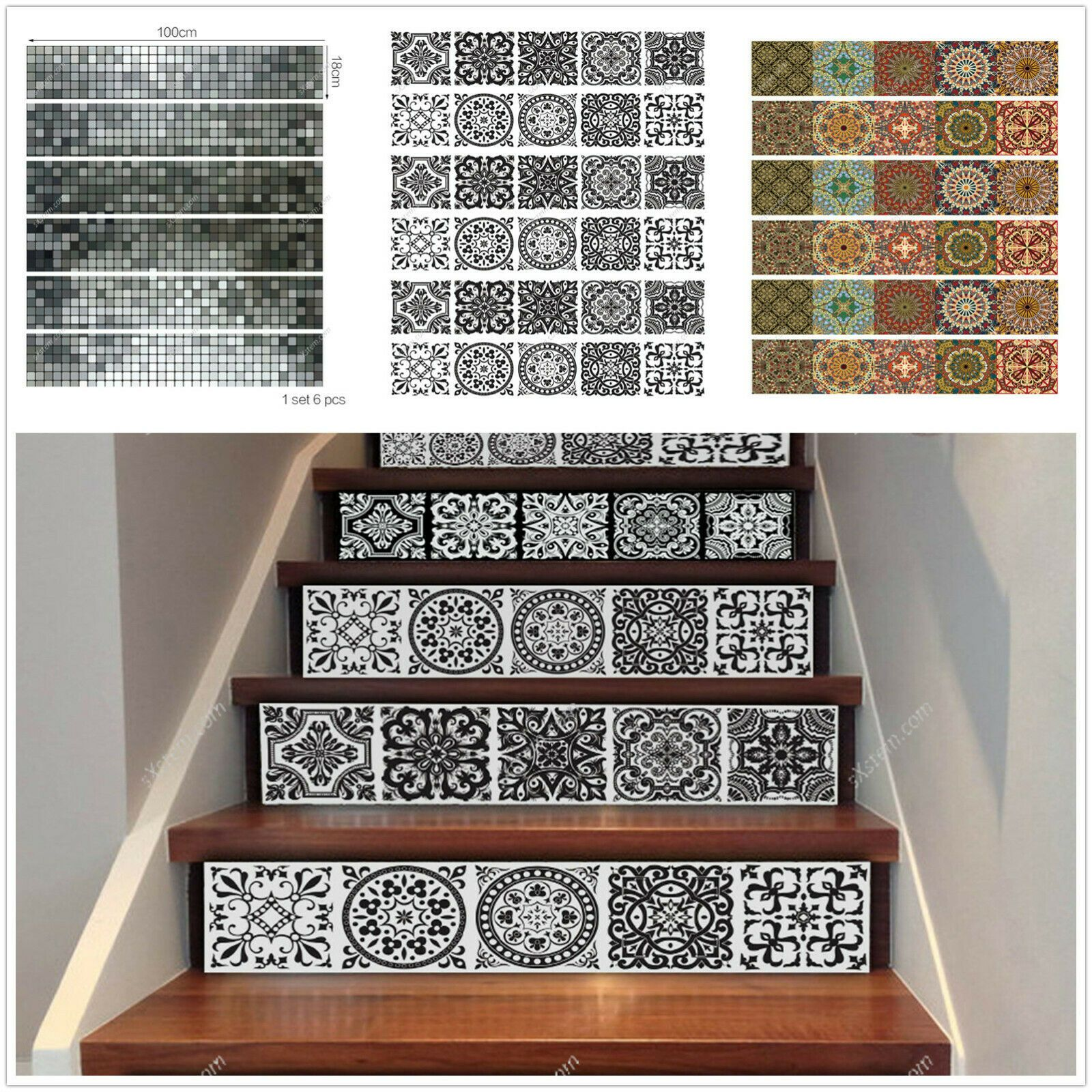 6pcs 3d Mosaic Stair Riser Decals Wall Tile Stickers Self Adhesive Wallpaper Art Mosaic Stairs Self Adhesive Wallpaper Mosaic