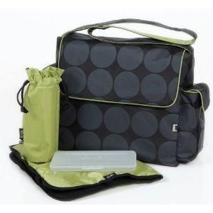 Insulated Pockets Waterproof Material Wipes Pocket Diaper Tote Bag with Changing Pad and Shoulder Strap Green Lining Grey Dot Hobo Diaper Bag for Baby by OiOi Stroller Straps