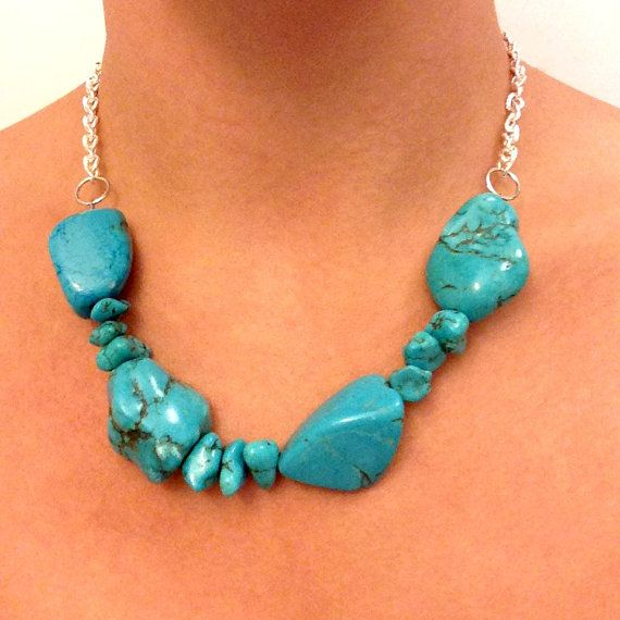 Turquoise Chunky Beaded Necklace with Silver Chain by AriemTreasures Use Promo Code: PIN10 for 10% OFF your purchase!
