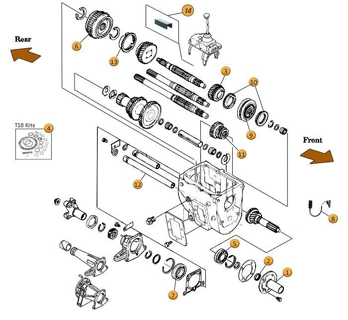 interactive diagram - jeep cj7 borg-warner t18 ... jeep transmission parts diagram #13