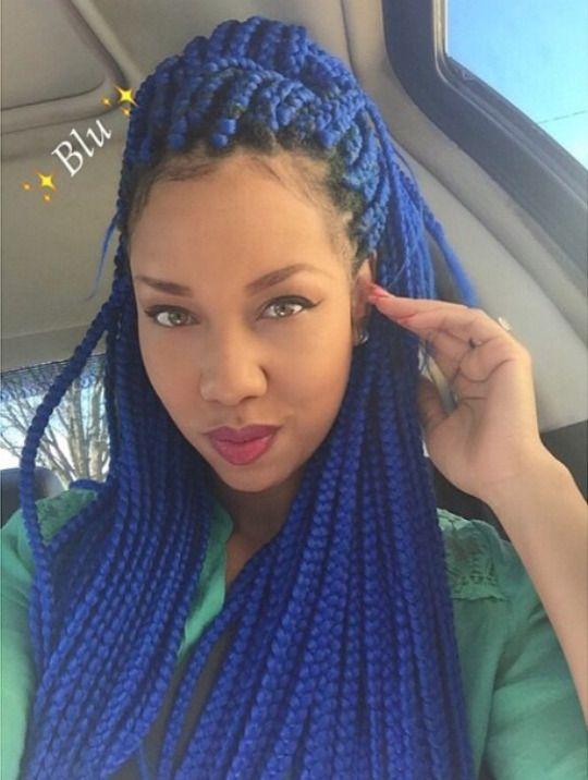 luv the blu braids! Tagli Di Capelli Protettivi, Acconciature Con Trecce,  Acconciature Protettive