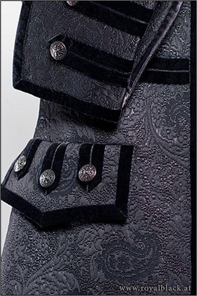 "Finishing Inspiration - velvet trim | Close-up of Royal Black's costume ""Black Lord"""