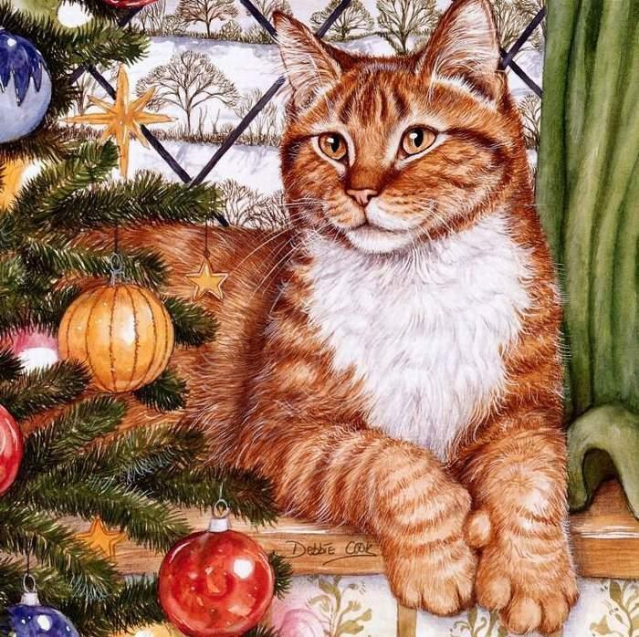 Debbie Cook의 작품들 화가 고양이 아트 크리스마스 예술 예술