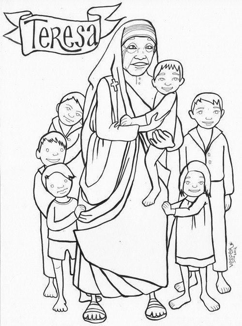 mother teresa coloring pages for children | CF Catholic Kids ...