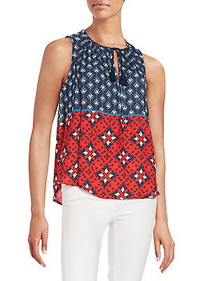 Collective Concepts Mixed-Print Top - Navy  - Size