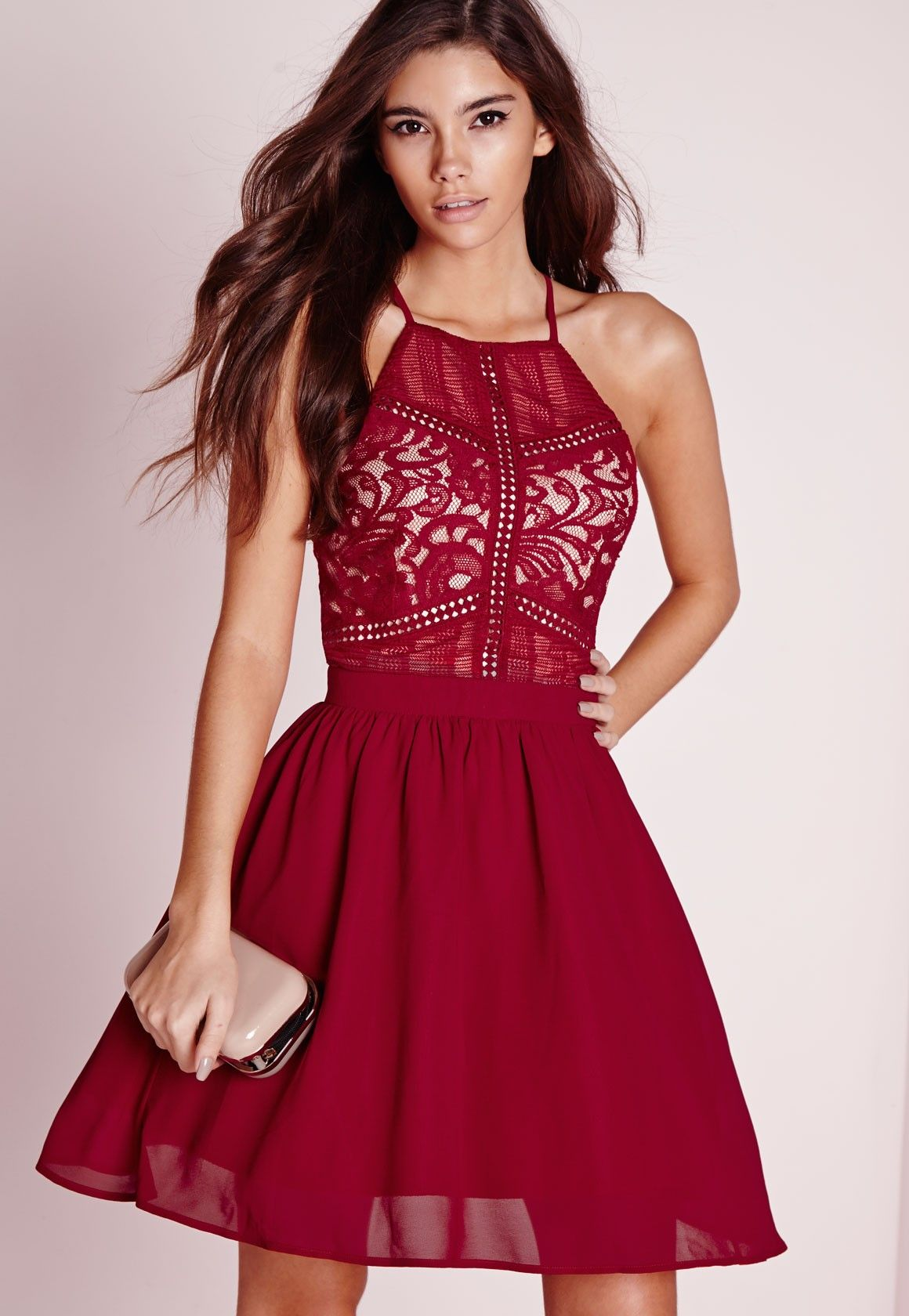 5a77befd057a2 Missguided - Lace Square Neck Skater Dress Burgundy | Clothes ...