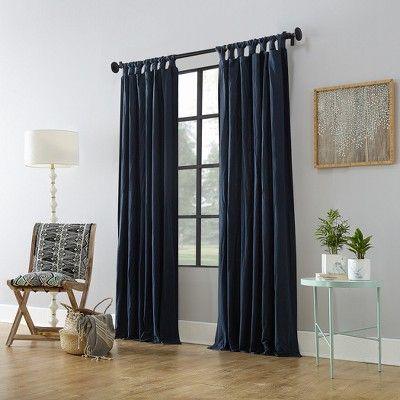 52 X95 Washed Cotton Twist Tab Curtain Navy Blue Archaeo Cool Curtains Tab Curtains Curtains