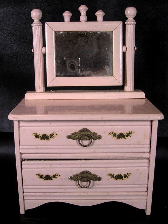 Antique Pink Doll Dresser With Mirror Painted