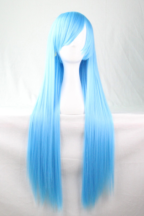 Photo of Women Light Blue Harajuku Heat Resistant Long Straight Anime Cosplay Wig – One Size