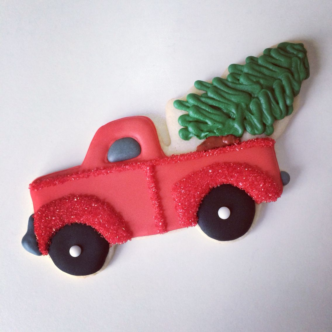 custom christmas cookies tree in a truck decorated sugar