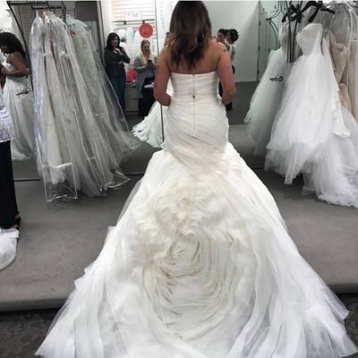 9ef938e23047 White by Vera Wang Bias-Tier Trumpet Wedding Dress Style VW351395 ...
