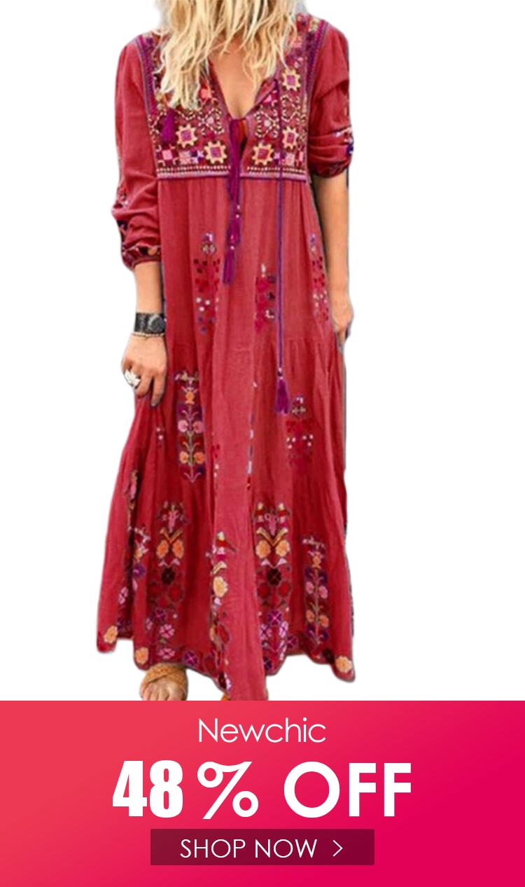 Bohemian Embroidered Long Sleeve Maxi Dress For Women Long Sleeve Maxi Dress Maxi Dress With Sleeves Bohemian Embroidered Dress [ 1266 x 750 Pixel ]