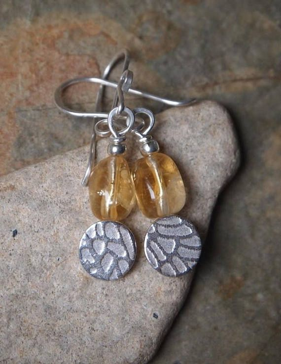 Citrine Earrings November Birthstone Silver Disc