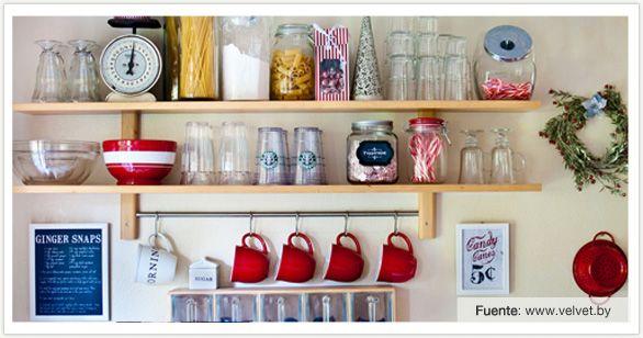 Consejos para ordenar estanter as de tu cocina gina - Estanterias para cocina ...