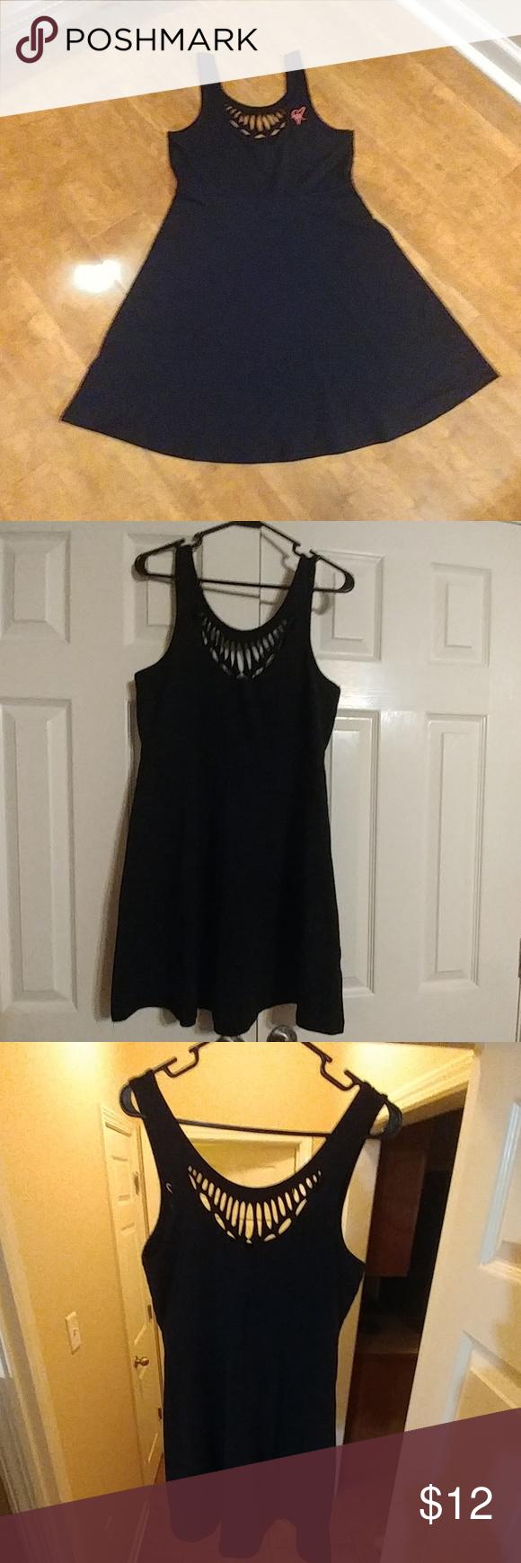 Sale sexy black dress black cottonpolyester blend tank dress with