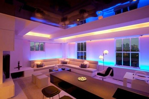 False Ceiling LED Lights Living Room With Modern Lighting