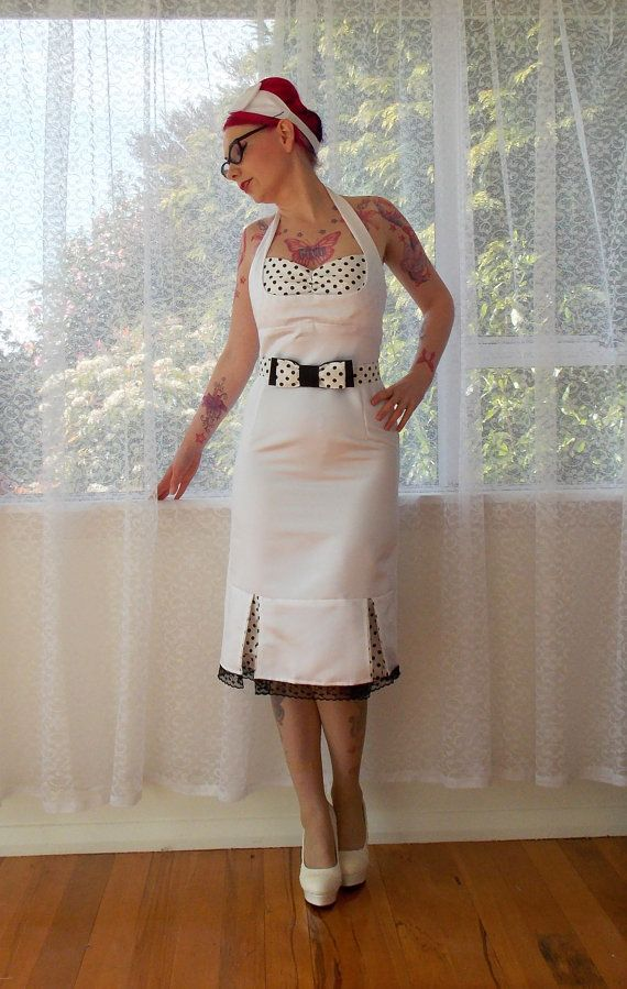1950s &quotBridget&quot Pin up White Wiggle Halterneck Wedding Dress with ...