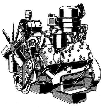 line drawing of the big ford flathead used in larger trucks and the Classic Ford line drawing of the big ford flathead used in larger trucks and the lincoln