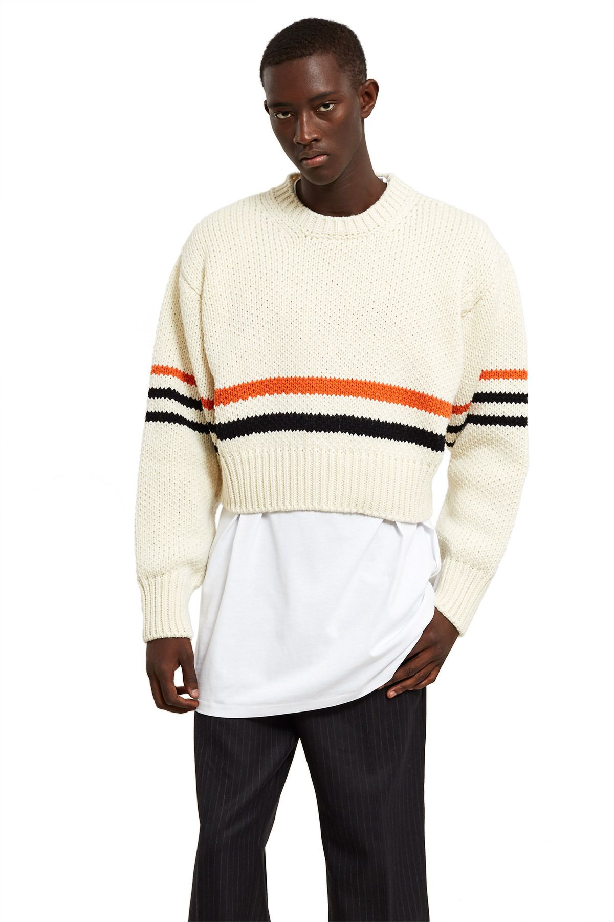 837d59dc70d919 Raf Simons, Striped Americano Sweater Spun in Italy using medium-weight wool,  this American-inspired cropped sweater features the season's two-tone  stripes ...