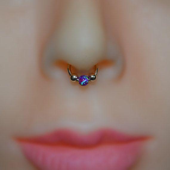 Faux Piercing 18g Faux Septum Ring Fake Piercing 3mm Onyx Septum Cuff Gold Fake Nose Ring Nose Cuff 18 Gauge