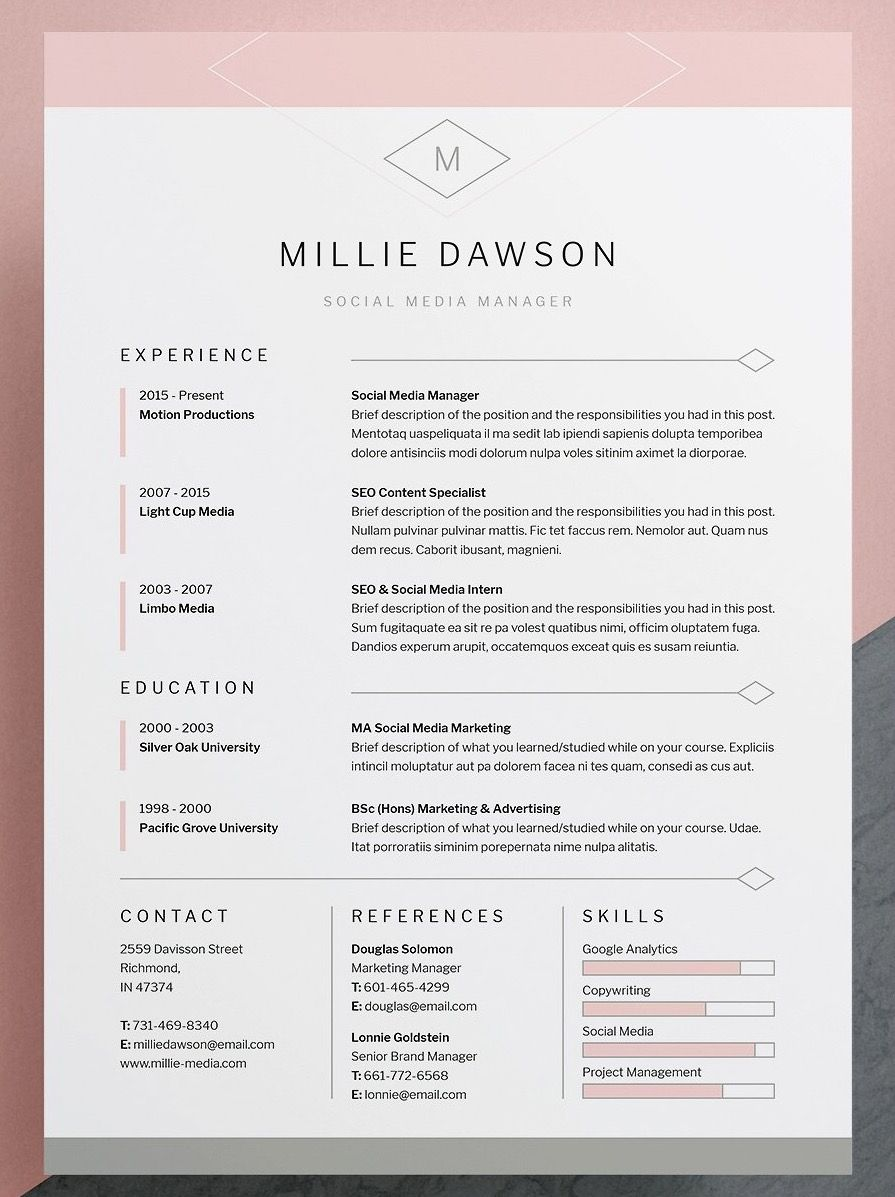 professional  elegant resume  cv template with matching cover letter template  available for word