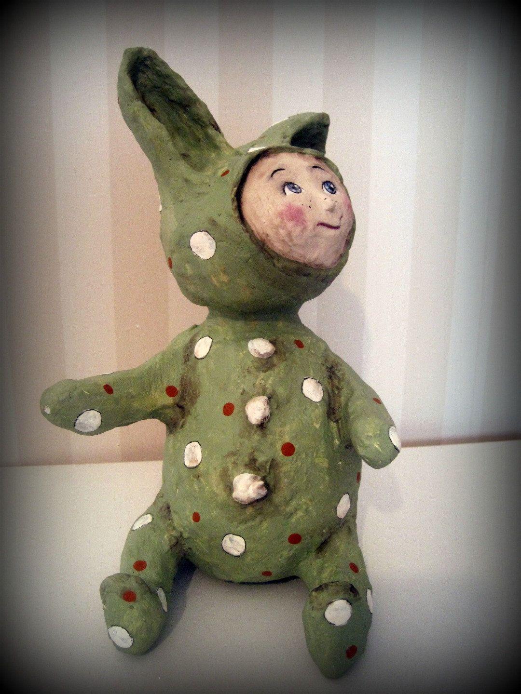 Child doll rabbit - art doll- papier mache - OOAK doll- handmade art doll- green- folk art