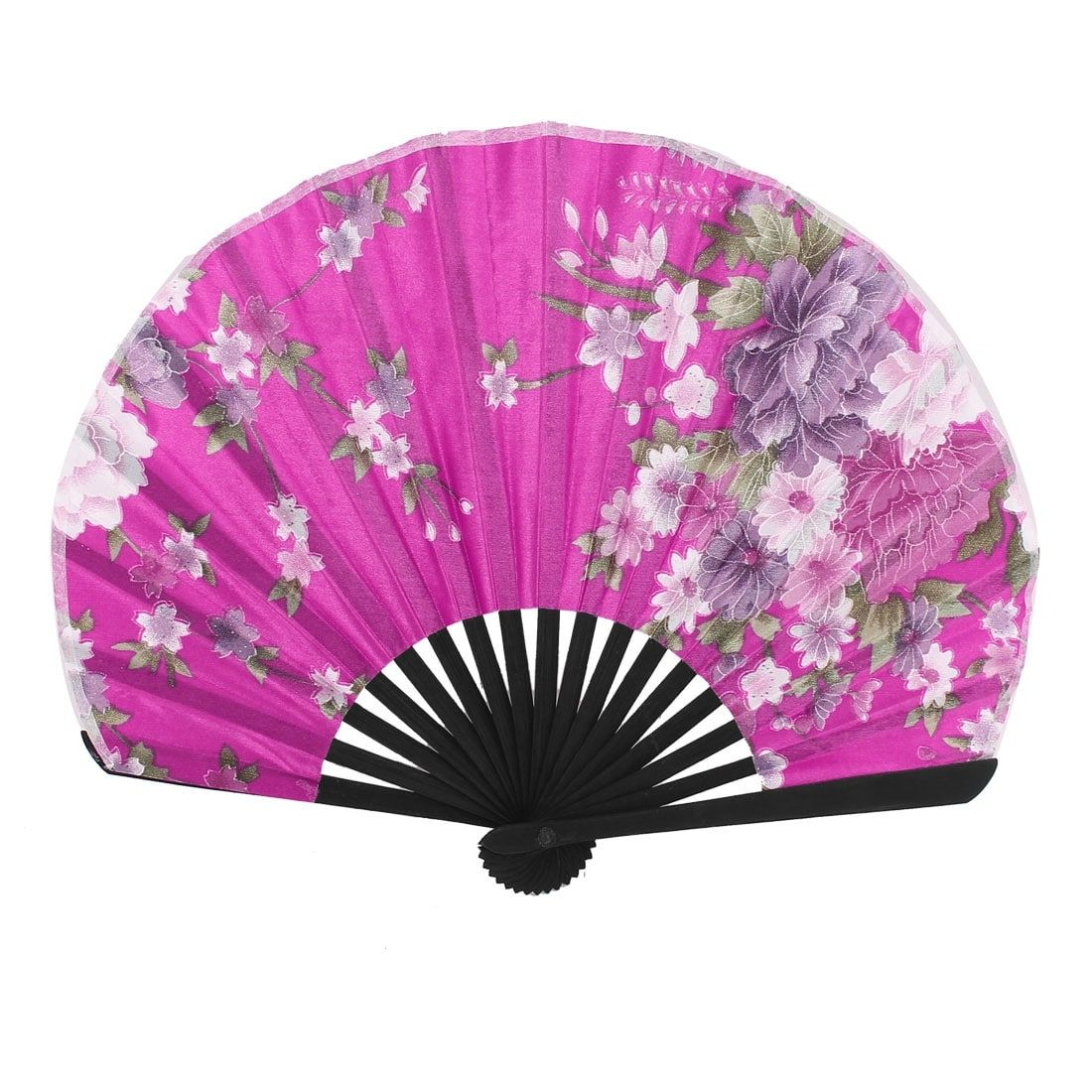 Unique Bargains Floral Pattern Lady Chinese Stylish Folding Hand Fan ...
