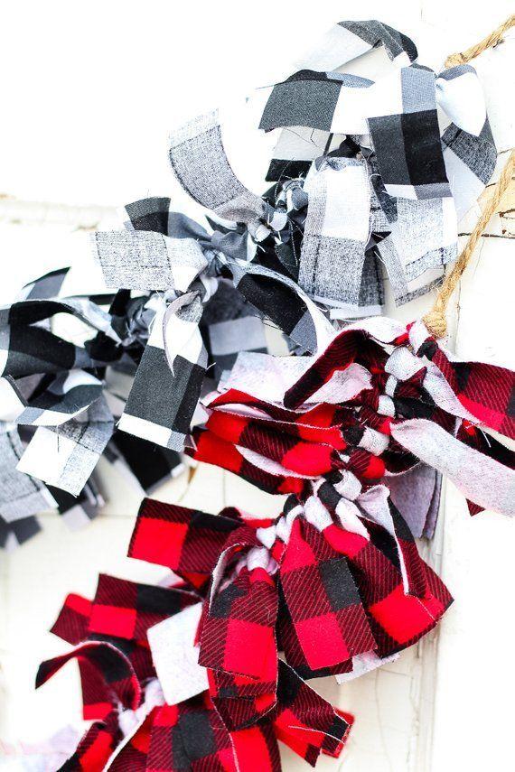 Buffalo Check Black and White Fabric Christmas Garland Banner Decoration Holiday Checker Large ...