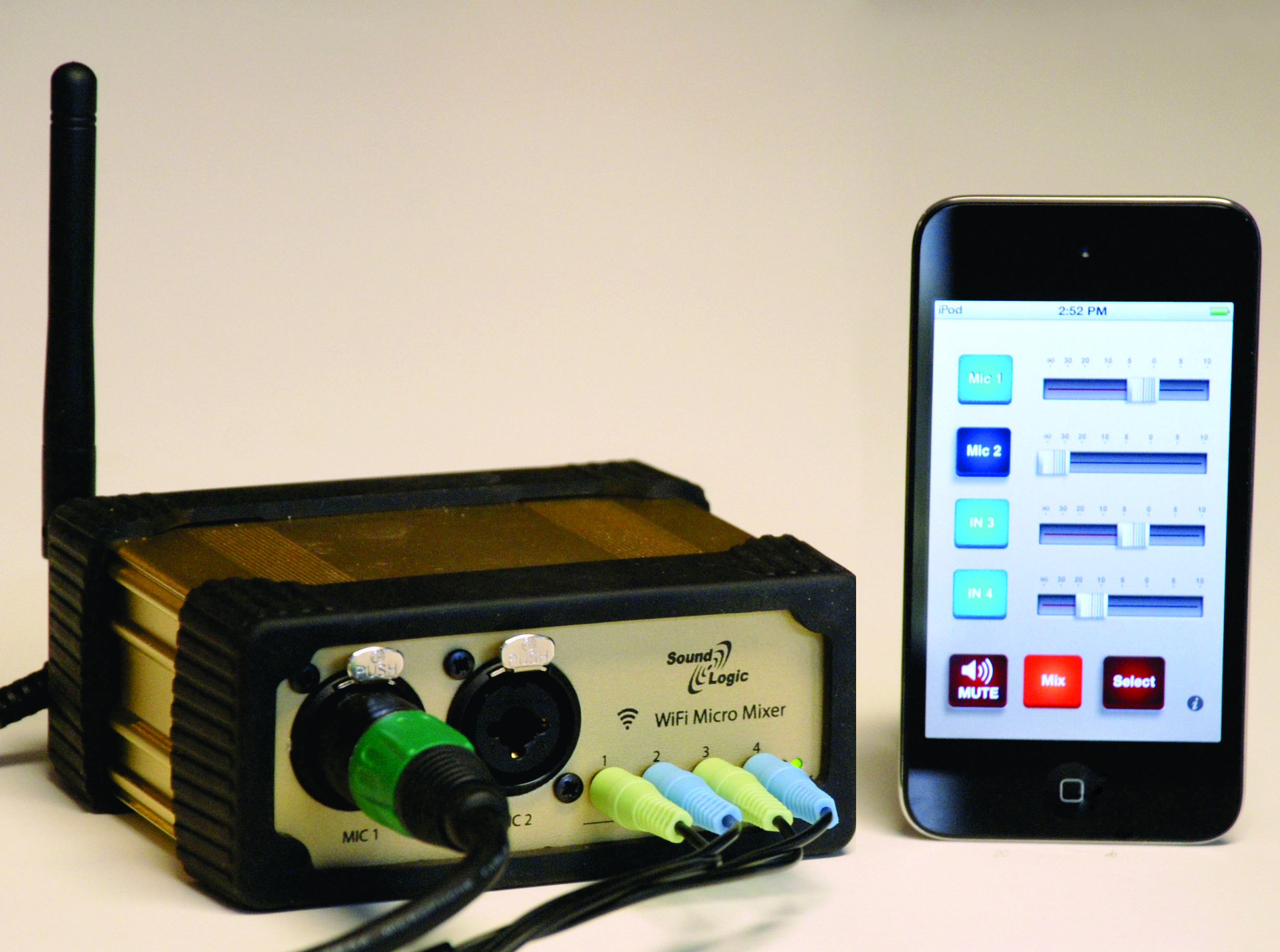 smallest 4ch wifi audio mixer for iphone ipad and android mobile devices [ 2464 x 1832 Pixel ]