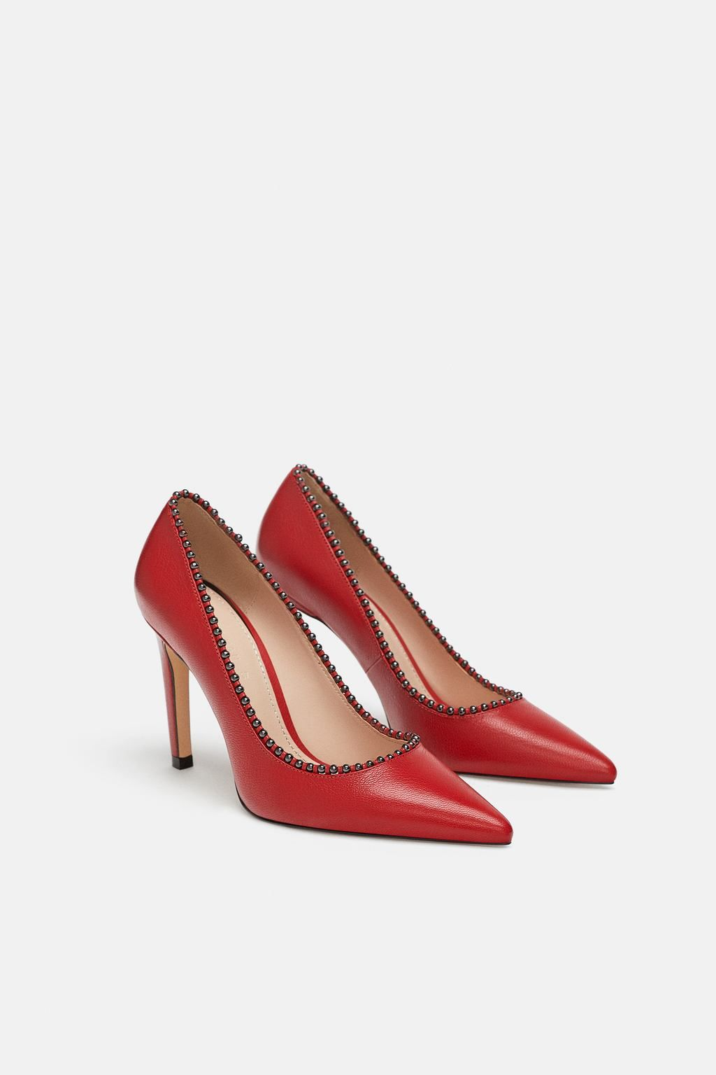 5fde46fa ZARA - SALÓN PIEL BOLITAS   Total Look Denim   Shoes, Leather pumps ...