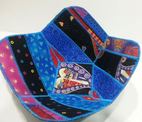 Reversible Fabric Bowl in Laurel Burch Cat Prints by Sieberdesigns