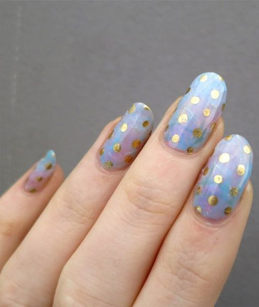 Golden Dotted Blue Nail Designs For Prom Nail Pinterest Blue