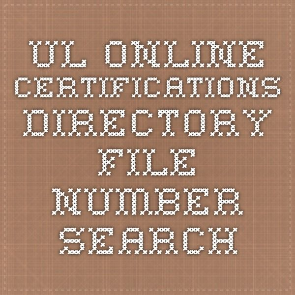 UL Online Certifications Directory - File Number Search   NorDesign ...