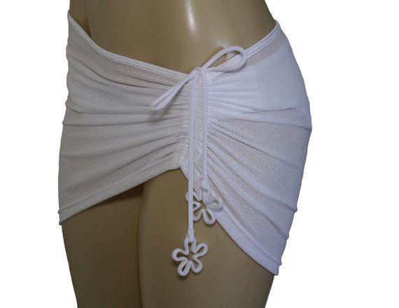 Jupe de plage sliding blanche jupe courte en maille - Maillot de bain transparent piscine ...