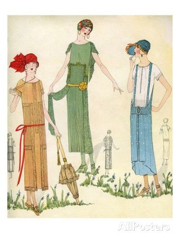1920s Fashion Illustrations Illustration Of Women In 1920s Fashion Giclee Print 1920s Fashion Art Deco Fashion Fashion Poster