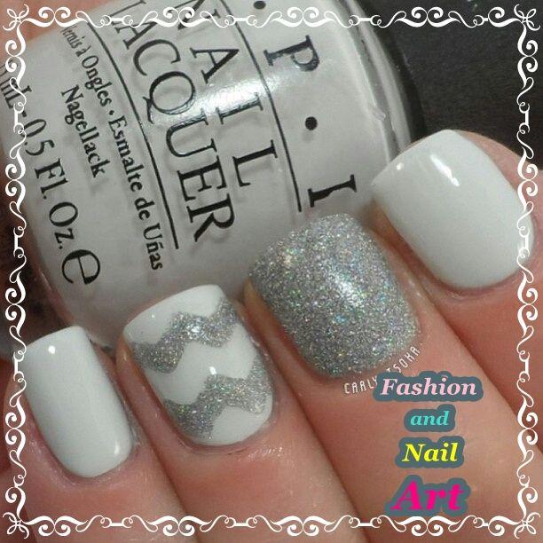Uñas blancas con gris de brillitos | Fashion and Nail Art ...