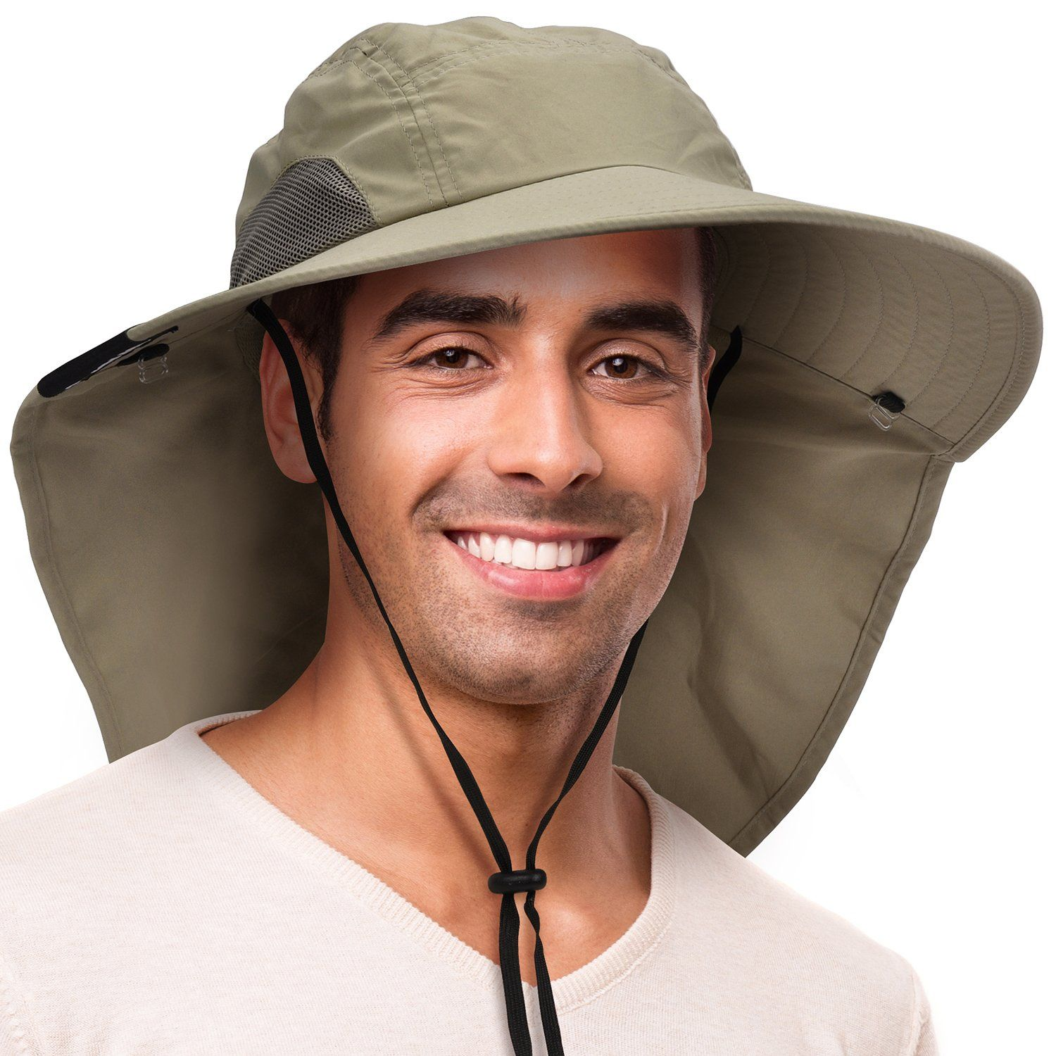 Outdoor Cap With Ear And Neck Flap Cover Sun Protection Hats Hiking Camping Gear