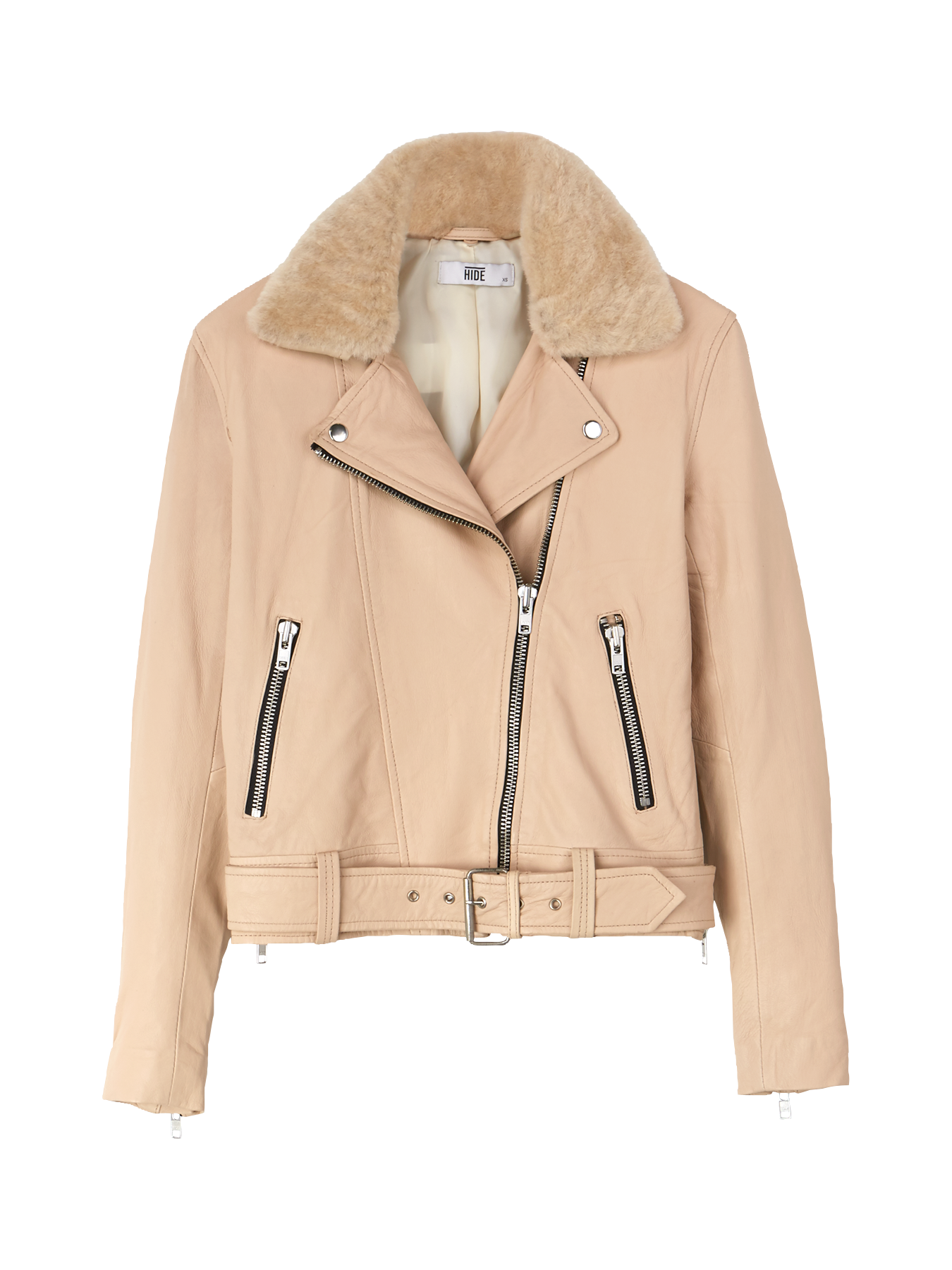 HIDE Rita Shearling Biker Jacket - PeachSize & Fit True to size - take your usual sizeClassic biker shape - boxy with a waist-length cutModel is 5'10