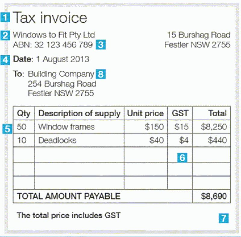 Issuing Tax Invoices  Australian Taxation Office Invoice
