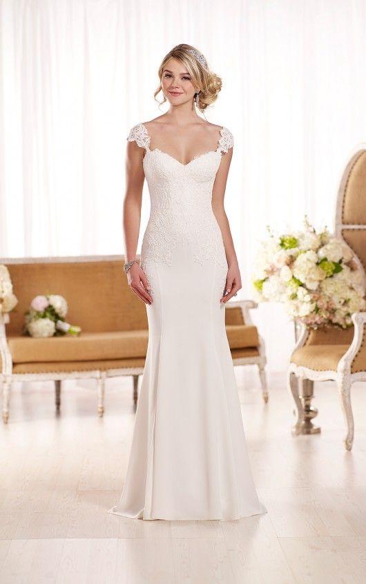 Lace Cap Sleeve Wedding Dress by | The Dress | Pinterest | Wedding ...