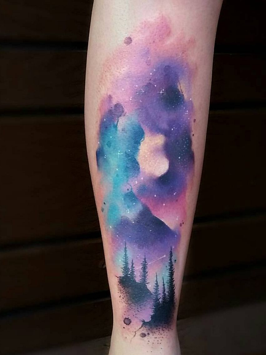 forest watercolor tattoo watercolor galaxy tattoo sky tattoos night sky tattoos watercolor galaxy tattoo sky tattoos