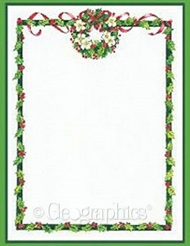Free Christmas Menu Borders | Holly Wreath Border Printable Invitations W/  Envelopes, 4.25  Free Xmas Menu Templates