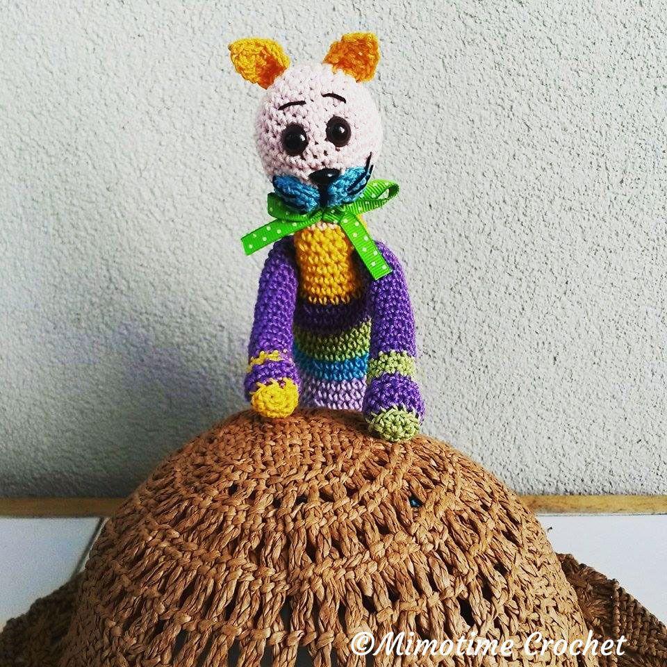 """Doudou Chat """"Hector like birds"""" multicolore au crochet : Jeux, peluches, doudous par mimotime"""