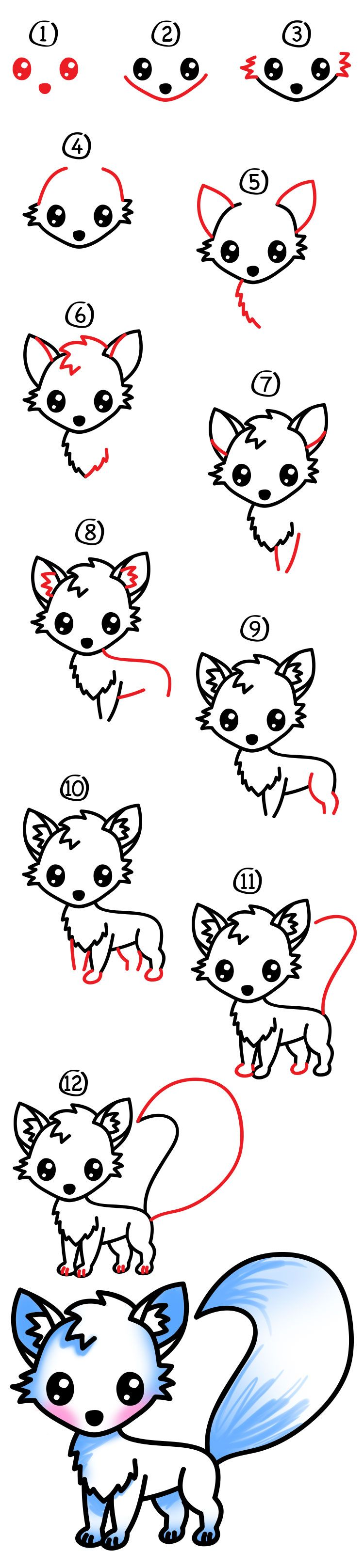How to draw an arctic fox | Step by step Drawing tutorials