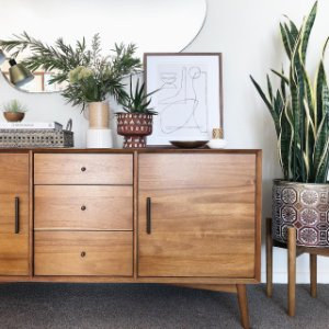 Mid Century Buffet Media Console Large Acorn West Elm Sideboard Decor Dining Room Buffet Table Decor Mid Century Buffet