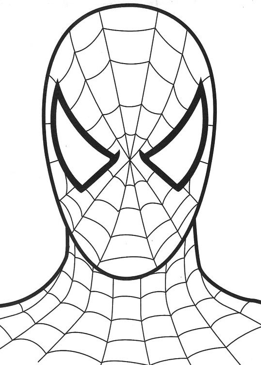 the head of the mighty spiderman coloring for kids